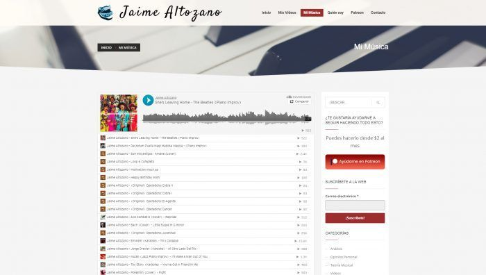 Página de música de Jaime Altozano